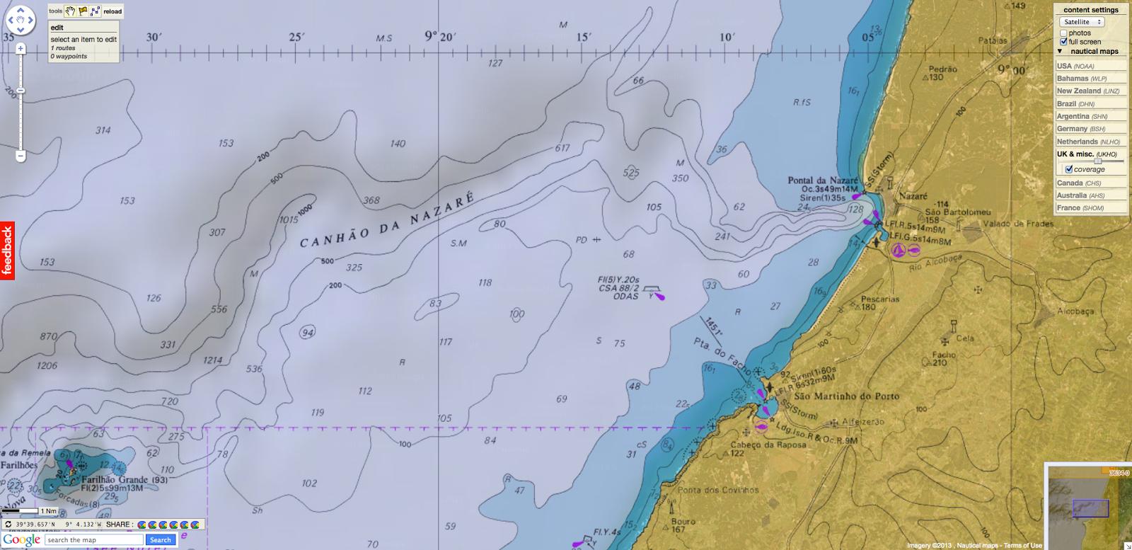 Nazaré et son canyon, et la petite baie de Sao Martinho juste au sud. Carte Marine GeoGarage.